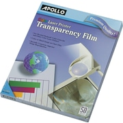 "Apollo® Color Laser Printer/Copier Transparency Film, Letter, Clear, 8 1/2""(W) x 11""(H), 50/Box"