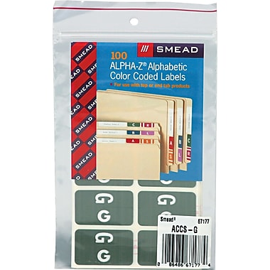 Smead Alpha-Z Color-Coded Alphabetical Labels Second Letter Package Set G, Gray