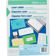 "Avery PRES-a-ply 1.33"" x 4.25"" Laser Address Labels, Clear, 1/Box (30622)"