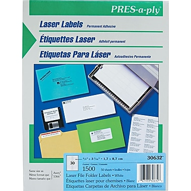 Avery ® PRES-a-ply ® 30632 White File Folder Label, 2/3in.(W) x 3 7/16in.(L), 1500/Box