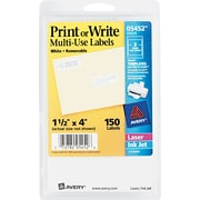 "Avery 1.5"" x 4"" Inkjet/Laser Removable Print or Write Labels, White, 50/Pack (05452)"