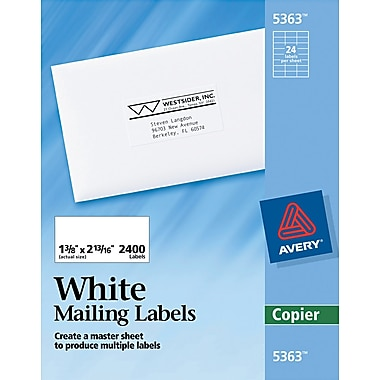 Avery® 5363 White Copier Address Label, 1 3/8in.(W) x 2 13/16in.(L), 2400/Box