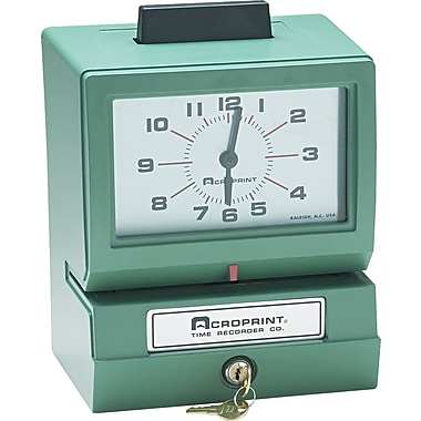 Acroprint Heavy-Duty Analog Manual Print Time Recorder, Month/Date/1-12 Hours/Minutes