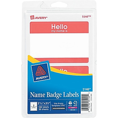 Avery® 100/Pack 2 11/32in.(W) x 3 3/8in.(L) Printable Self-Adhesive Name Badge Labels