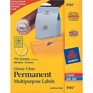Avery ® 6582 Glossy Clear Permanent ID Label, 1 5/8in.(Dia), 500/Pack