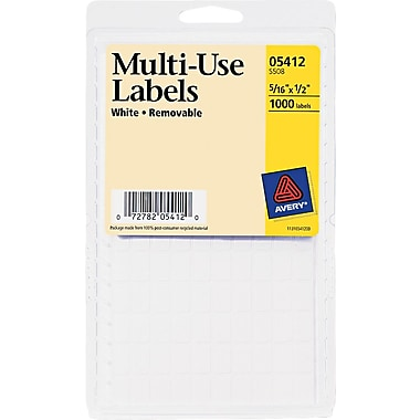 Avery ® 05412 Printable Removable Self-Adhesive MultiUse ID Label, 5/16in.(W) x 1/2in.(L), 1000/Pack
