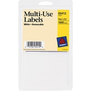 "Avery 0.5"" x 0.31"" Inkjet/Laser Removable Print or Write Labels, White, 11/Pack (05412)"