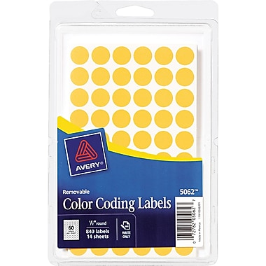 Avery  05062 Removable Self-Adhesive Round Paper Color-Coding Label, Orange, 1/2in.(Dia), 840/Pack
