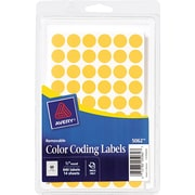 Avery  05062 Removable Self-Adhesive Round Paper Color-Coding Label, Orange, 1/2(Dia), 840/Pack