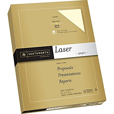 Southworth® 25% Cotton Laser Paper, Ivory, 8 1/2in.(W) x 11in.(L), 300/Pack