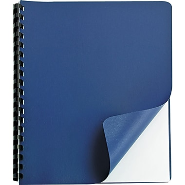 GBC® Grain™ Embossed Texture Binding Cover, 8 3/4in.(W) x 11 1/4in.(L), Navy Blue
