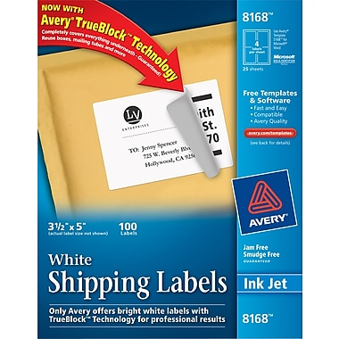 Avery ® 8168 White Shipping Label With TrueBlock ® Technology, 3 1/2in.(W) x 5in.(L), 100/Pack