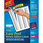"Avery 0.67"" x 1.75"" Laser Easy Peel White Return Address Labels, White, 100/Pack (5155)"