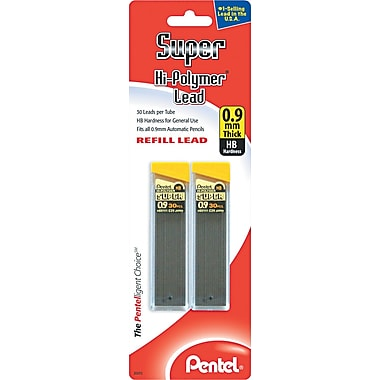 Pentel® Super Hi-Polymer® Lead Refill, 0.9 mm, HB, Black, 60/Pack