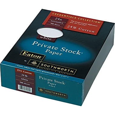 Southworth® 25% Cotton Private Stock® Laid Business Paper, White, 8 1/2in.(W) x 11in.(L), 500/Box