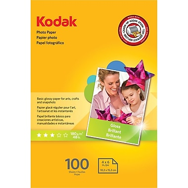 Kodak Photo Paper, White, 4in.(W) x 6in.(L), 100/Pack