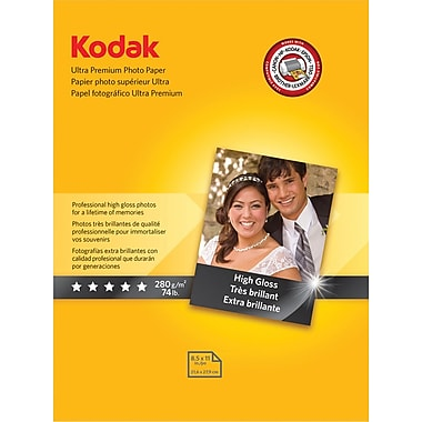 Kodak Ultra Premium Photo Paper, White, 8 1 / 2in.(W) x 11in.(L), 25 / Pack