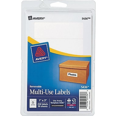 Avery ® 05436 Printable Removable Self-Adhesive MultiUse ID Label, 1in.(W) x 3in.(L), 250/Pack