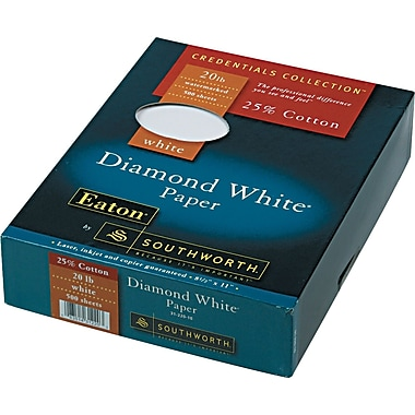 SOUTHWORTH® 25% Cotton Diamond White® Business Paper, 8 1/2in. x 11in., 20 lb., Wove Finish, White, 500/Box