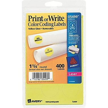 Avery  05499 Print Or Write Removable Color-Coding Label, Neon Yellow, 1 1/4in.(Dia), 400/Pack