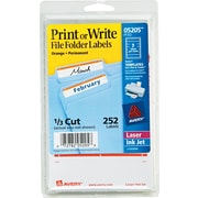 Avery ® 05205 White Print Or Write File Folder Label, 11/16(W) x 3 7/16(L), 252/Pack