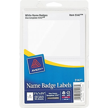 Avery  5147 Printable Self-Adhesive Name Badge Label, White Border, 2 11/32in.(W) x 3 3/8in.(L)