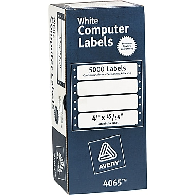 Avery® 4065 White Dot Matrix Printer Address Label, 4in.(W) x 15/16in.(L), 5000/Box