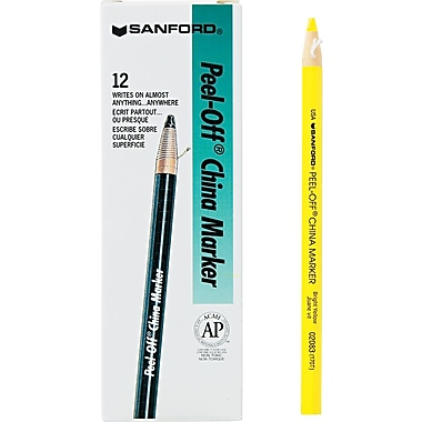 Sharpie  Peel-Off China Marker, Yellow, Dozen