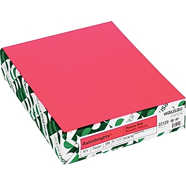 Wausau Papers® Astrobrights® 22129 Card Stock, 8 1/2in.(W) x 11in.(L), Plasma Pink