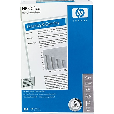 HP Office Paper, White, 11in.(W) x 17in.(L), 500/Ream