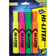 HI-LITER  Desk Style Highlighter, Chisel Tip, Assorted, 4/Pack