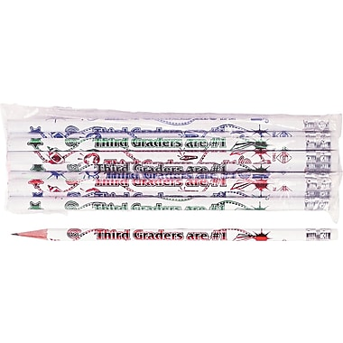 Moon Products Woodcase Pencil, HB-Soft, No. 2 Lead, White Barrel, Third Graders Are #1, 12/Pack
