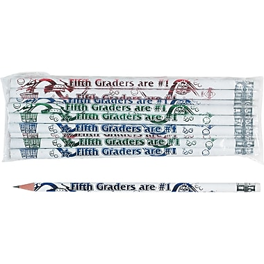 Moon Products Woodcase Pencil, HB-Soft, No. 2 Lead, White Barrel, Fifth Graders Are #1, 12/Pack