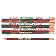 Moon Products Woodcase Pencil, HB-Soft, No. 2 Lead, Assorted Barrel, Merry Christmas, 12/Pack