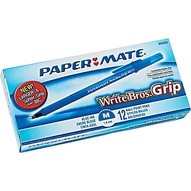 Paper Mate® Write Bros.® Grip Stick Ballpoint Pen, 1 mm Medium, Blue, Dozen