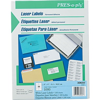 Avery ® PRES-a-ply ® 30603 White Address Label, 2in.(W) x 4in.(L), 1000/Box