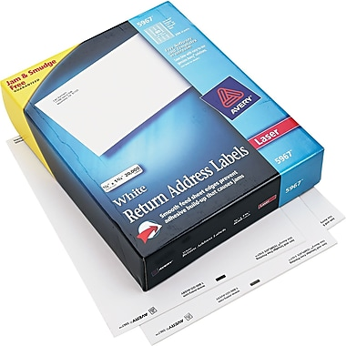 Avery ® 5967 White Paper Address Label, 1/2in.(W) x 1 3/4in.(L), 20000/Box