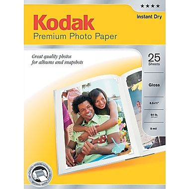 Kodak Premium Glossy Photo Paper, White, 8 1/2in.(W) x 11in.(L), 25/Pack