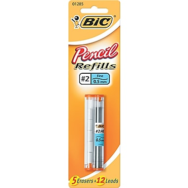 BIC  Lead/Eraser Refill, 0.5 mm, HB, Black, 12 Leads, 5 Erasers