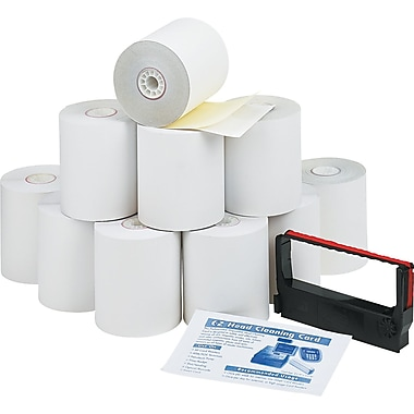 PM Company® Impact Printing Carbonless Paper Roll, Canary/White, 3in.(W) x 90'(L), 10/Ctn