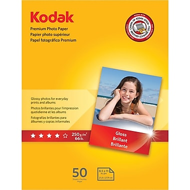 Kodak Premium Glossy Photo Paper, White, 8 1/2in.(W) x 11in.(L), 50/Pack