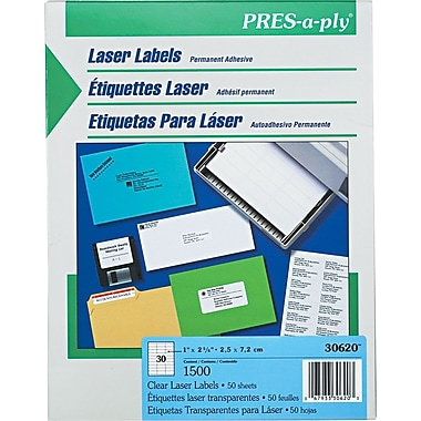 Avery ® PRES-a-ply ® 30620 Clear Address Label, 1in.(W) x 2 5/6in.(L), 1500/Box