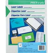 Avery ® PRES-a-ply ® 30620 Clear Address Label, 1(W) x 2 5/6(L), 1500/Box