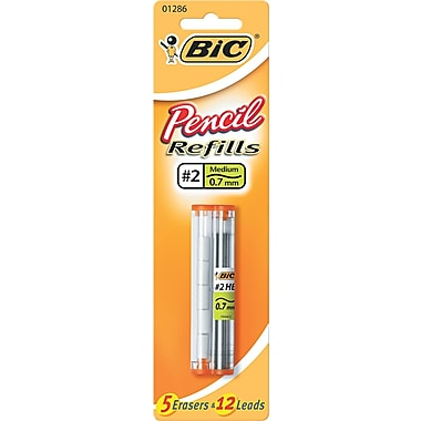BIC  Lead/Eraser Refill, 0.7 mm, HB, Black, 12 Leads, 5 Erasers