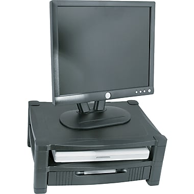 Kantek MS480 Adjustable Two Tier Monitor Stand with Drawer, Black