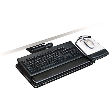 3M Easy Adjust Keyboard Tray With Highly Adjustable Platform, Black, 19 1 / 2in.(W) x 10 1 / 2in.(D)