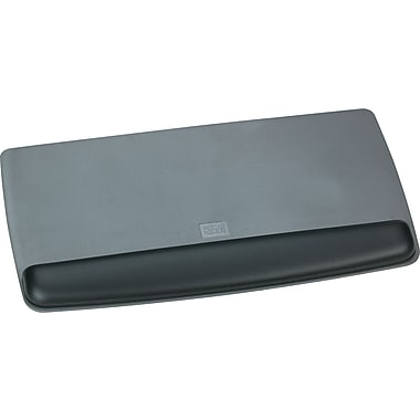 3M Antimicrobial Gel Wrist Rest Platform, Black / Metallic Gray, 1in.(H) x 19.6in.(W) x 10.6in.(D)