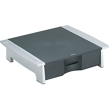Fellowes® Printer/Fax Machine Stand With Drawer, 5 1/4in.(H) x 21 1/4in.(W) x 18 1/8in.(D), Black/Silver