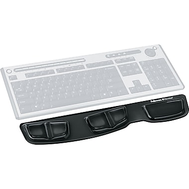 Fellowes® Antimicrobial Gel Keyboard Palm Support, Black, 3 3/8