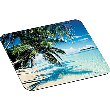 3M Designer Mouse Pad, Nonskid Foam Base, Tropical Beach, 8in.(D)